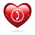 Herz mit Telefonsymbol