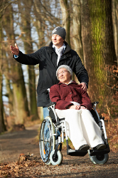 Waldspaziergang mit Rollstuhl